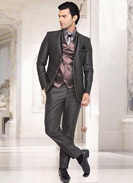 Black Rayon Lapel Suit