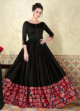 Black Satin Abaya Style Anarkali Suit