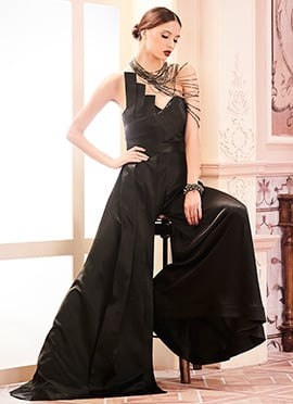 Black Satin Anarkali Gown
