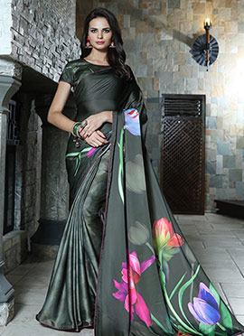 Black Satin Blend Saree