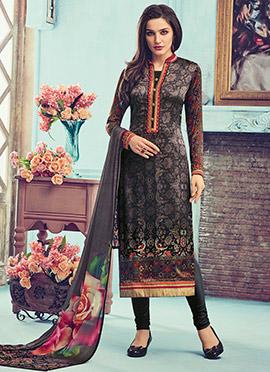 Black Satin Crepe Churidar Suit