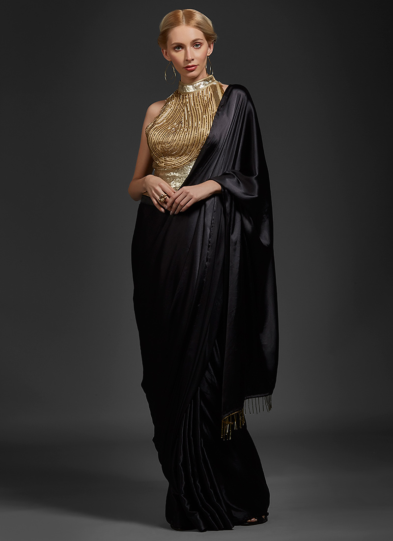 d195ced862 Buy Black Sequins Embroidered Saree Gown