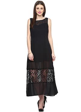 Black Shakumbhari Georgette Maxi Dress