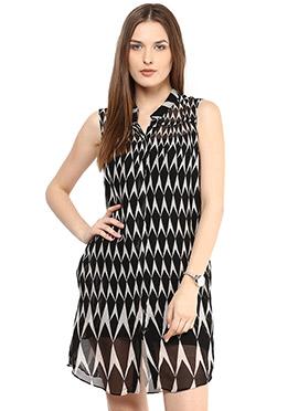 Black Shakumbhari Georgette Shirt Dress