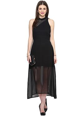 Black Shakumbhari Side Slitted Maxi Dress