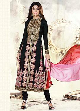 Black Shilpa Shetty Georgette Straight Suit