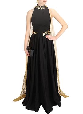 Black Silk Anarkali Gown