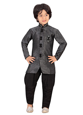 Black Silk Blend Boys Sherwani