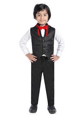 Black Silk Blend Kids Suit
