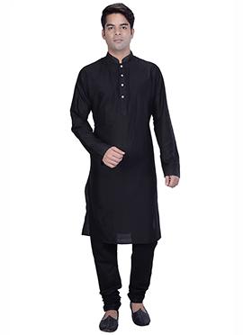 Black Silk Cotton Kurta Pyjama