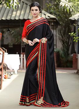 Black Silk Crepe Saree