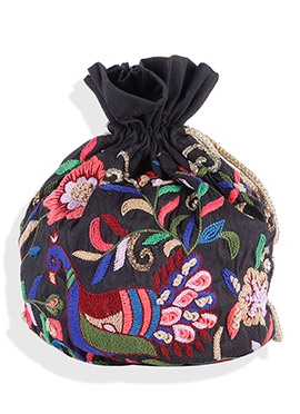 Black Silk Embroidered Potli Bag