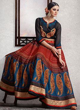 Black Silk N Georgette Anarkali Suit