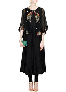 Black Silk N Net Cape Style Anarkali Suit