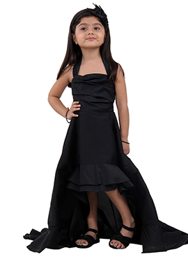 Black Taffeta Kids Dress