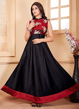 Black Taffeta Anarkali Gown