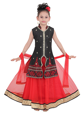 Black Taffeta Kids Long Choli Lehenga