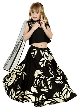 Black Taffeta Kids Umbrella Lehenga