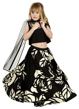 Black Taffeta Kids Umbrella Lehenga