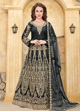Black Taffeta Silk Abaya Style Anarkali Suit