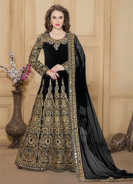 Black Taffeta Silk Anarkali Suit