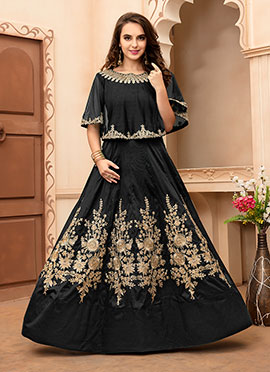 Black Taffeta Silk Gown