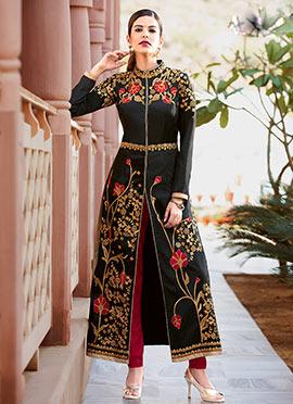Black Taffeta Silk Straight Suit