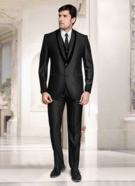 Black Terry Rayon Lapel Style Suit