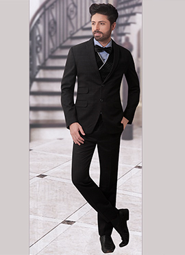 Black Terry Rayon Lapel Suit