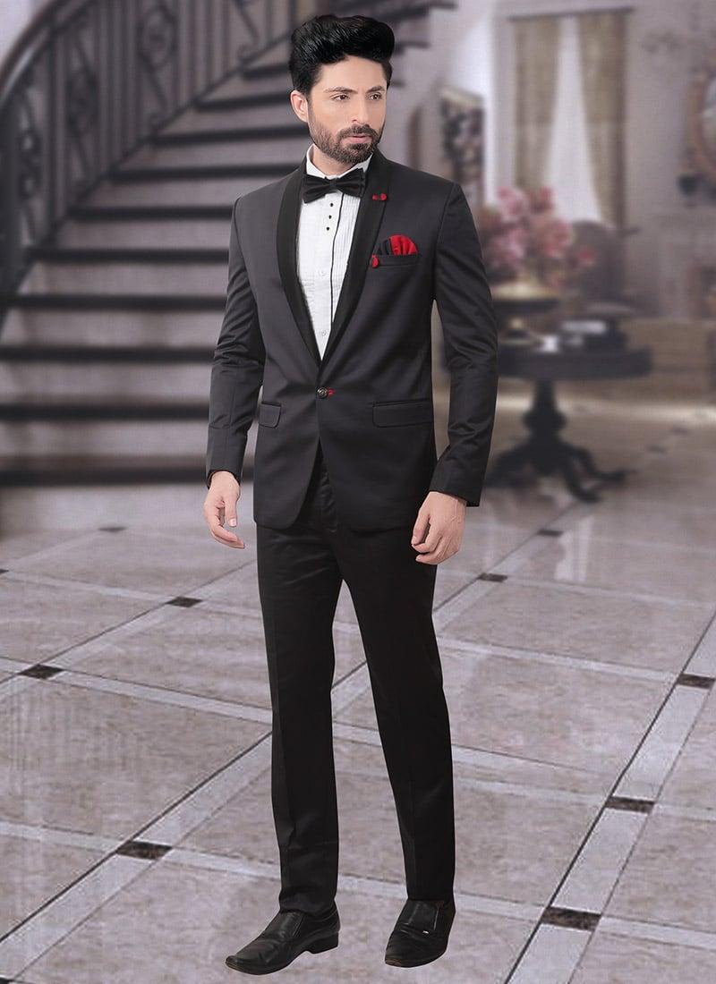 571fe30e34 Buy Black Terry Rayon Lapel Suit, Sangeet , Party Wear, lapel suits ...