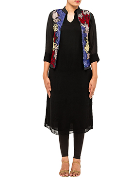 Black Tikki Work Jacket Kurti