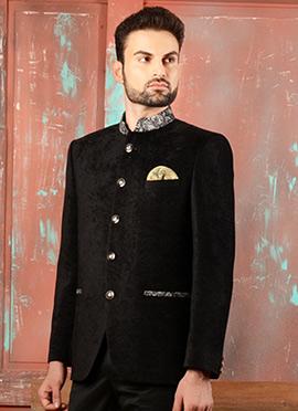 Black Velvet Bandhgala Jacket