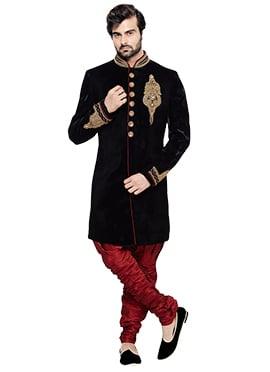 Black Velvet Breeches Style Sherwani