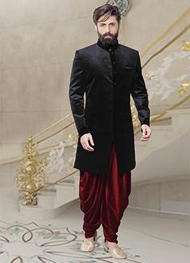 Black Velvet Dhoti Style Indo Western Sherwani