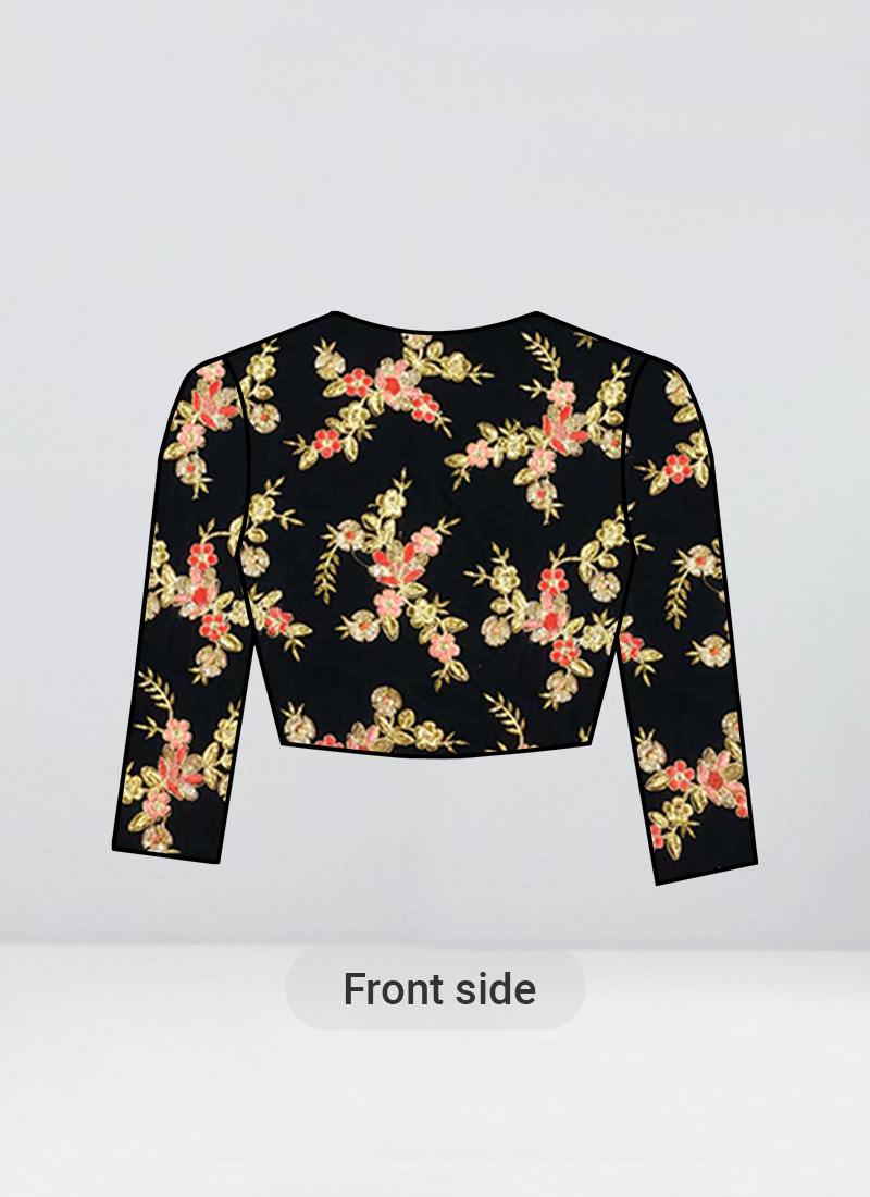 Shop Ethnovogue Black Velvet Embroidered Jewel Neck Blouse Made To Measure Dress For Women In All Sizes Blbs02003175