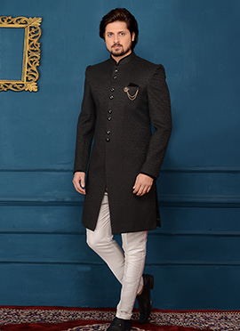 Black Velvet Indowestern Sherwani
