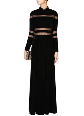 Black Velvet N Net Gown