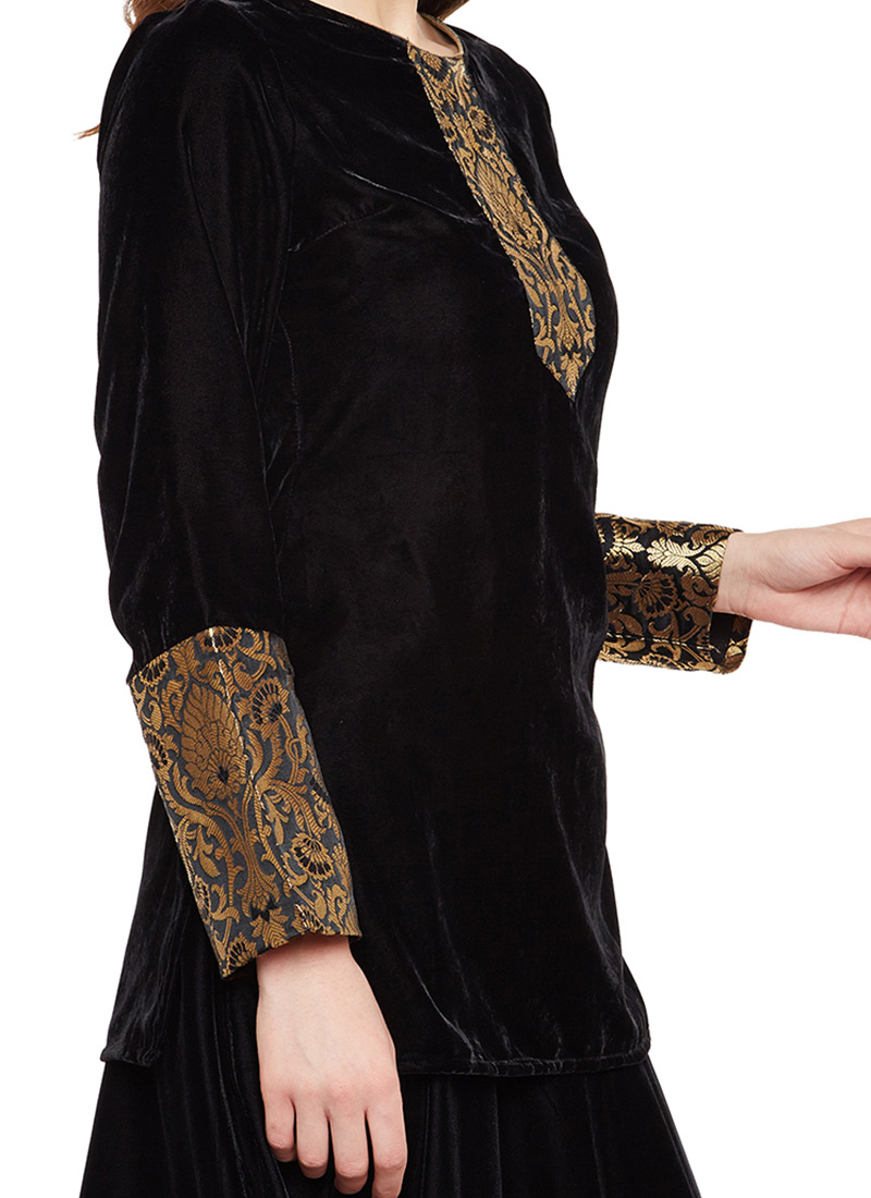 Buy Black Velvet Top Embroidered Tops And Tunics Online