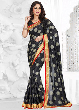 Black Viscose Jacquard Saree