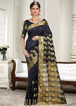Black Zari Weaved Silk Cotton Saree