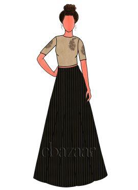 Black Zari Work Satin Embroidered Skirt Set