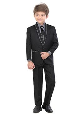 Blended Cotton Black Kids Suit