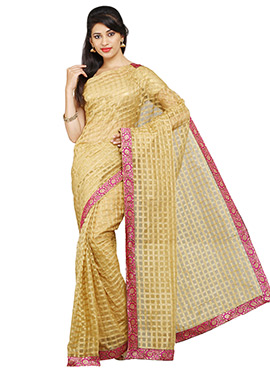 Blended Cotton Check Patterned Beige Saree