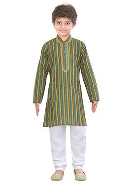 Blended Cotton Kids Multicolored Kurta Pyjama