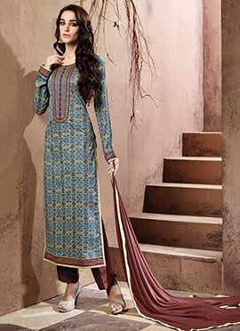 Blended Cotton Multicolored Straight Suit