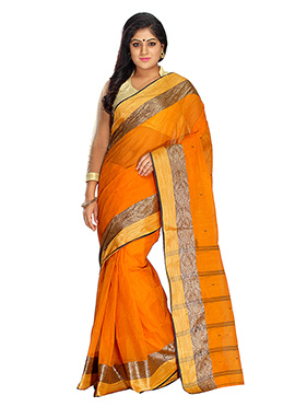 Blended Cotton Orange Tangail Saree