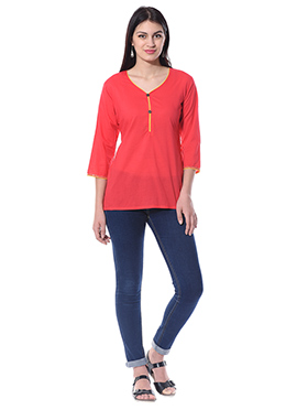 Blended Cotton Coral Red Top