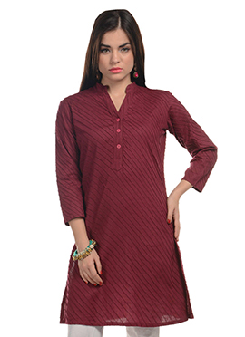 Blended Cotton Striped Maroon Kurti