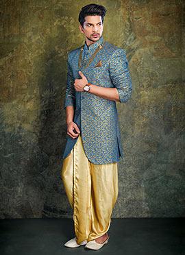 Blue Achkan Sherwani
