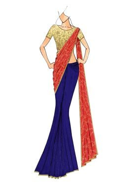 Blue And Peach Half N Half Saree